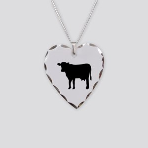 Black cow Necklace Heart Charm